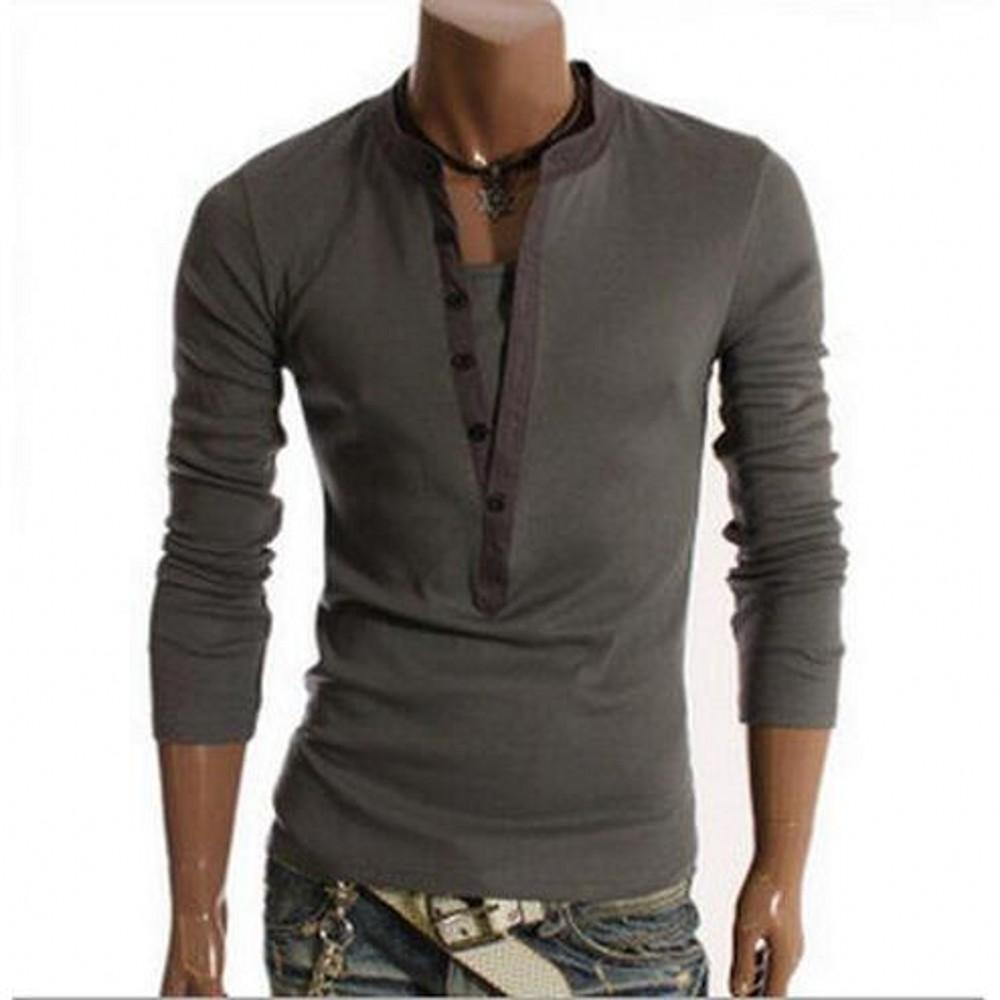 Fashion men lined cotton henley thermal v neck long sleeve for Cotton long sleeve v neck t shirts