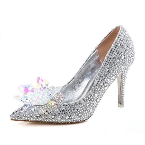 Womens Crystal Stiletto Glass Flower Wedding Heels Shoes Evening Dress Pumps