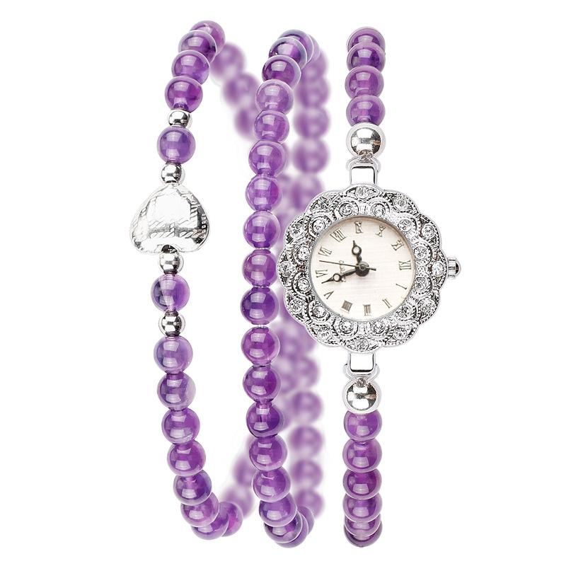 Наручные часы в форме браслета с бусинами из аметиста