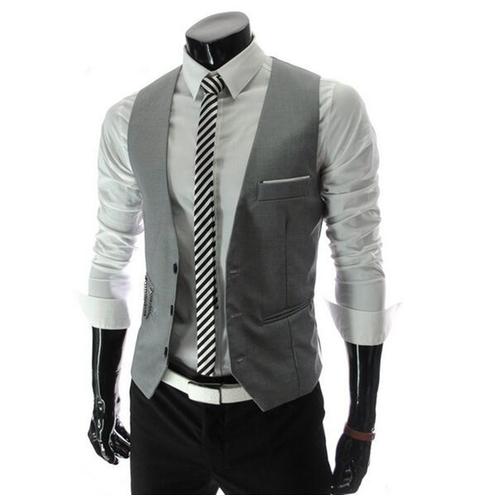 Men Sleeveless Dress Jacket Casual Button Suit Vest ...