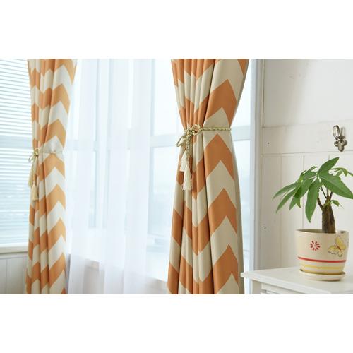 Blackout Window Curtains White Orange Stripes Soundproof Ring Drape Top 2 Panels Ebay
