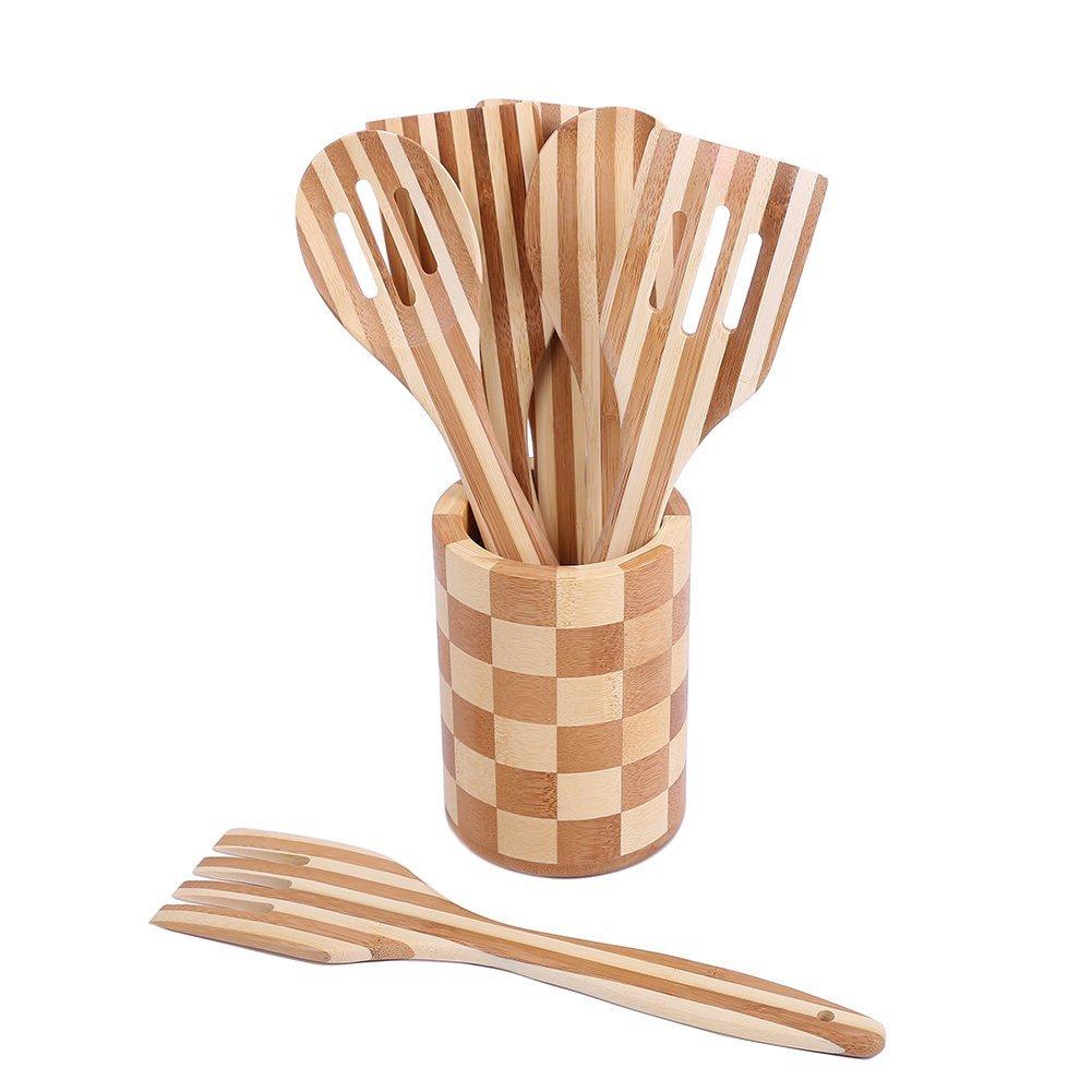 Набор кухонная посуды из бамбука (7 шт.)