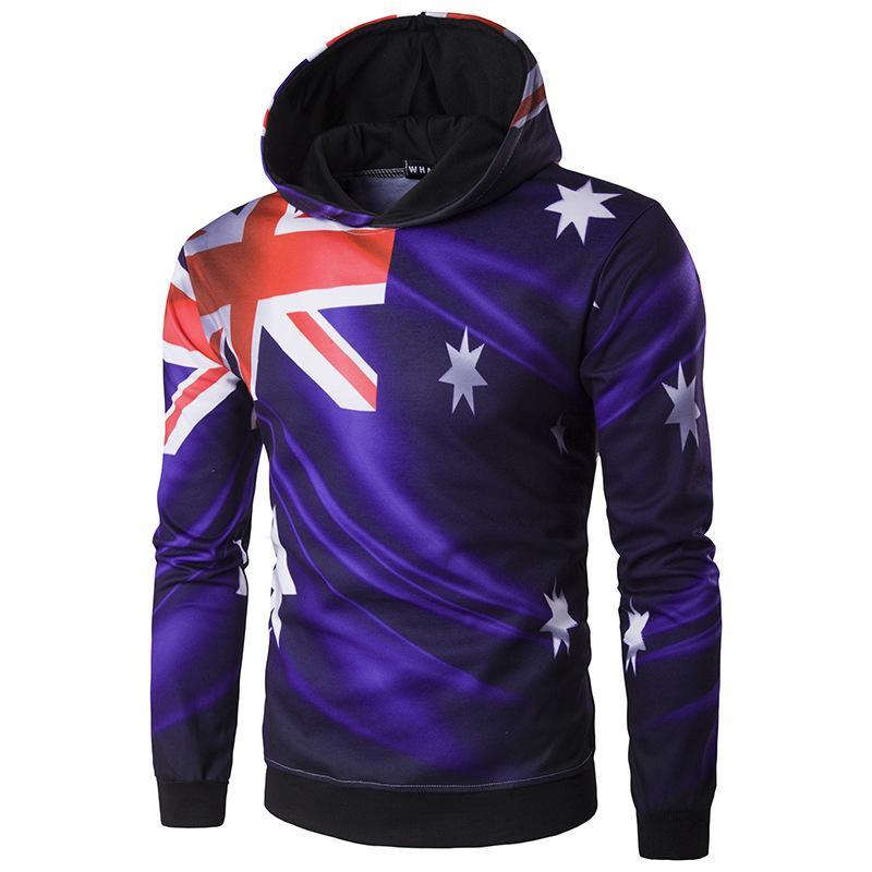 Пуловер с капюшоном, с принтом флага, мужской