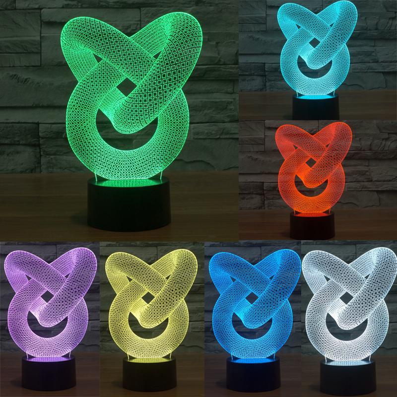 Настольная 3D LED лампа в форме узла